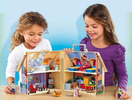 casa de muñecas moderna portátil playmobil