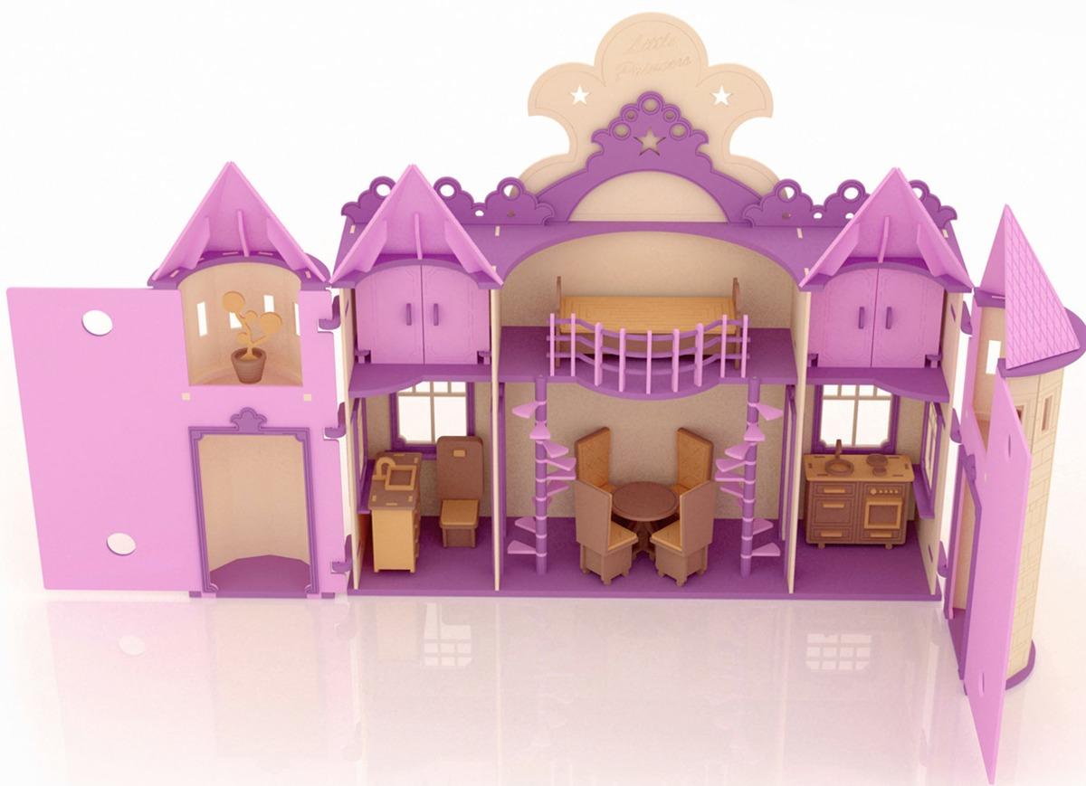 Casa de mu ecas palacio de princesa barbie en madera mdf - Accesorios para casa de munecas ...