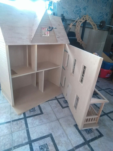 casa de muñecas para juegos en mdf y madera tamaño barbie