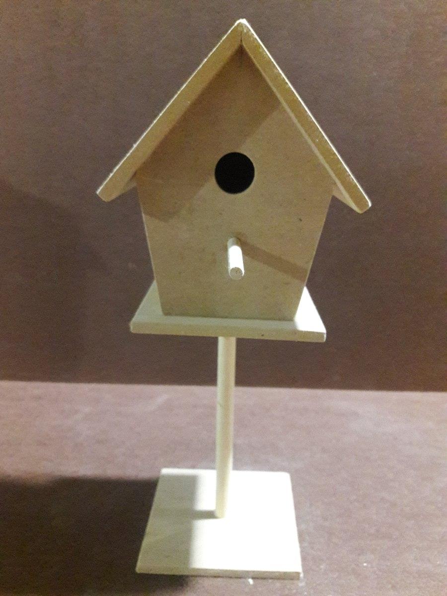 Casa De Pájaros Con Pie En Mdf Para Decorar