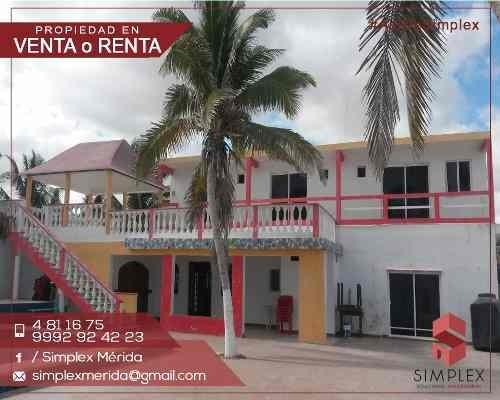 casa de playa con 4 habitaciones y piscina en renta y venta ubicada en chelem