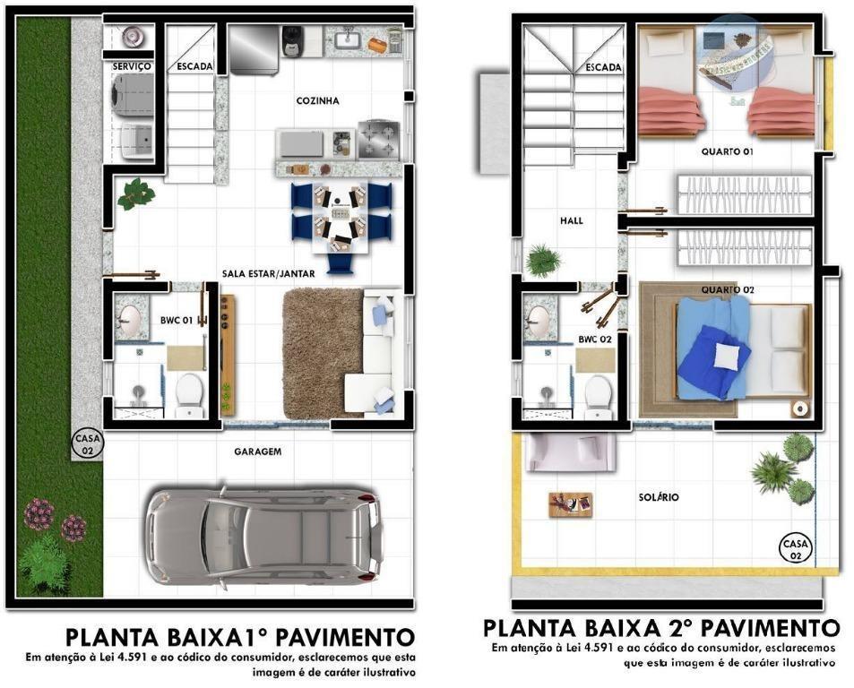 casa duplex com 2 quartos e solarium, pertinho da maria lacerda - residencial jasmim - ca0046