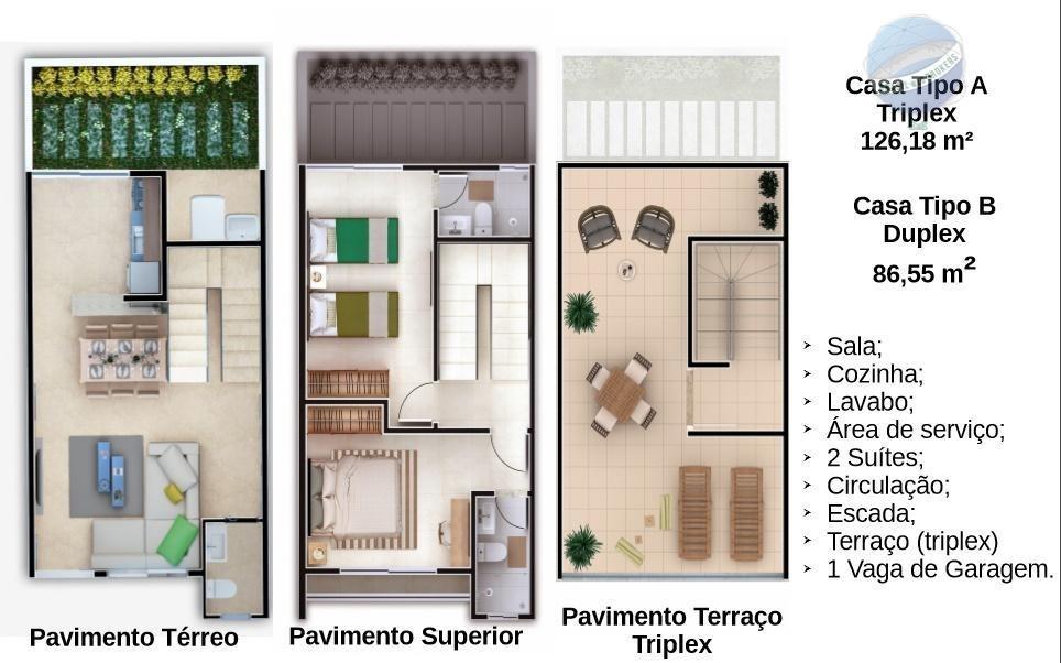 casa duplex em nova parnamirim - boque das árvores ii - lançamento - ca0061
