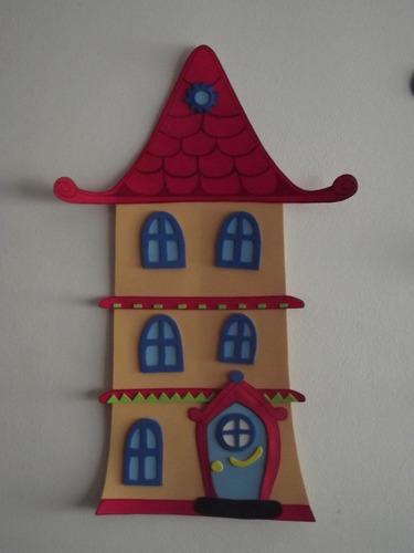 casa en goma eva para decorar   henry, el monstruito  c/u