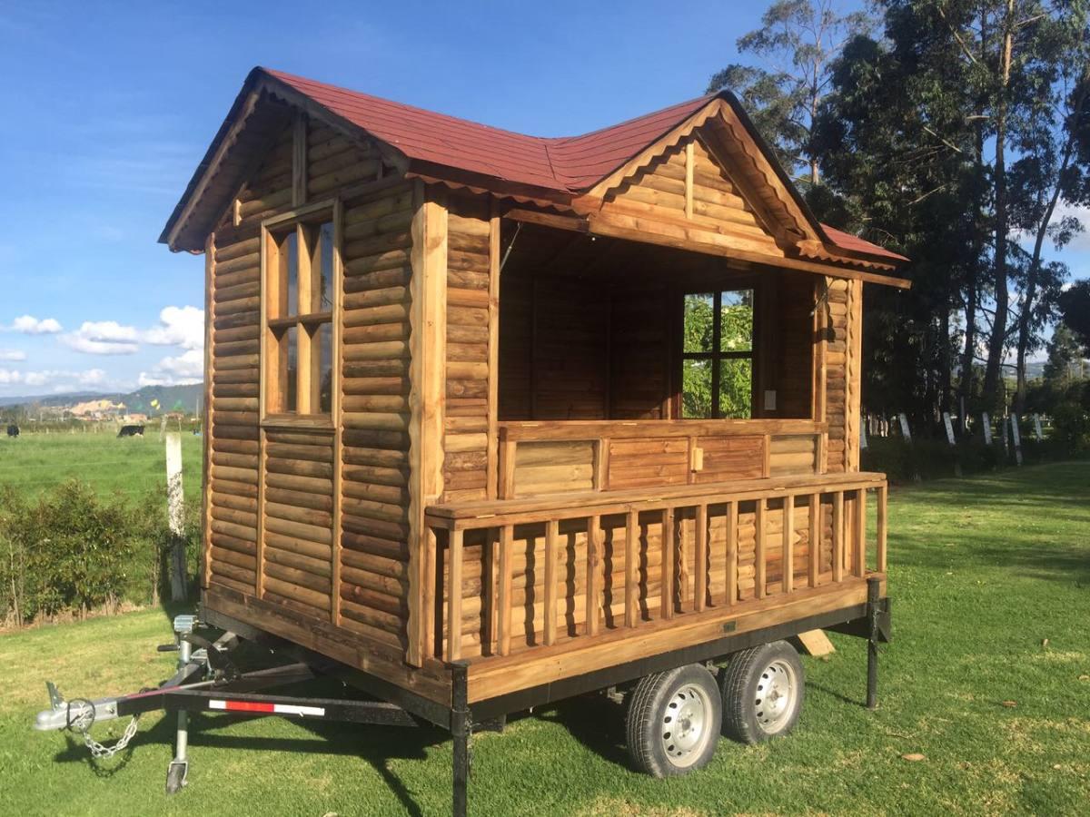 Casa en madera con trailer para comidas rapidas food truck for Como construir un kiosco en madera