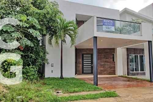 casa en renta en cancun en residencial aqua con terraza
