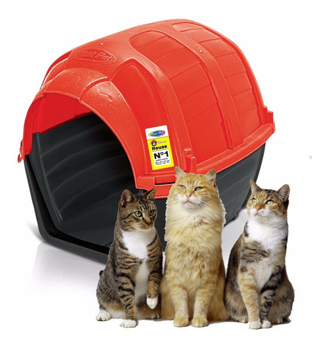 casa gato plast pet stone house no.1 roja envío gratis