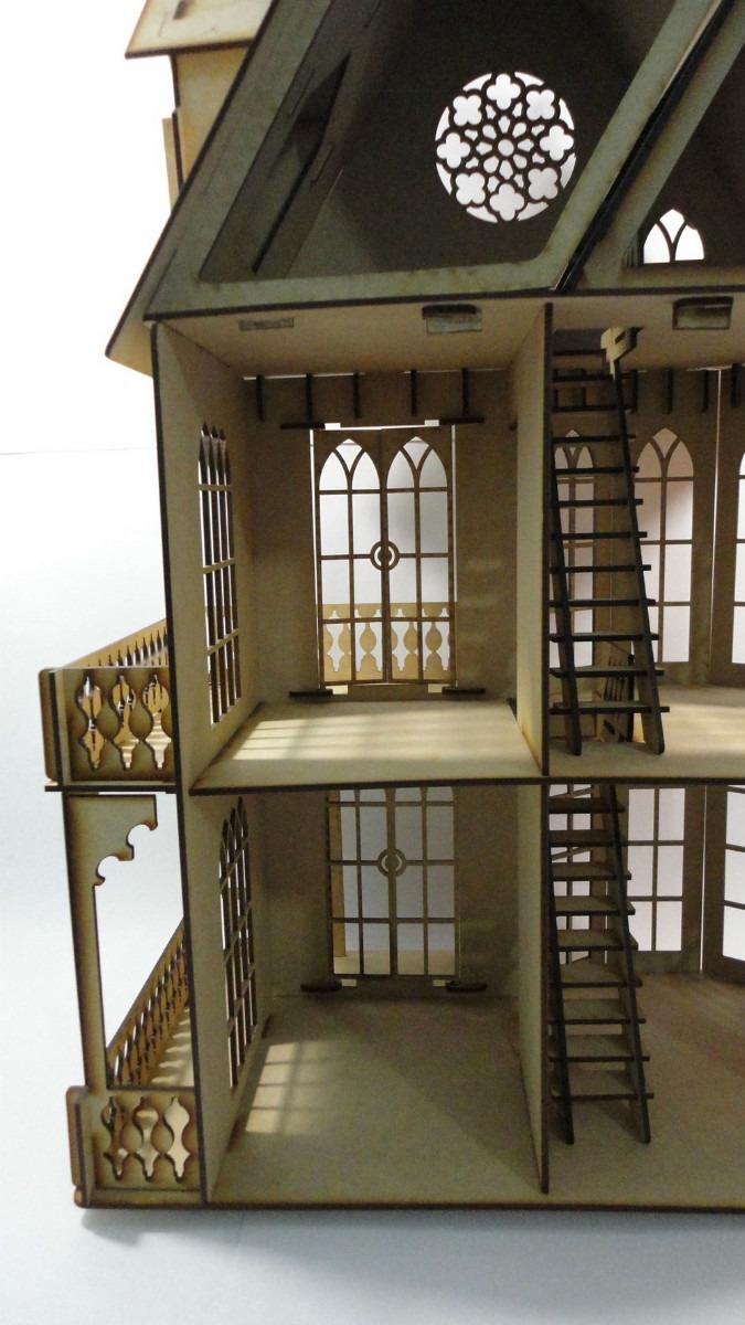 Casa gotica mu ecas rompecabezas 3d hecha en madera mdf for Casa revival gotica