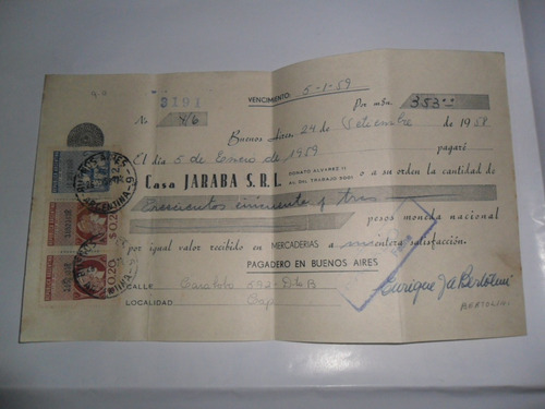 casa jaraba srl estampilla fiscal 1959 sello moneda nacional