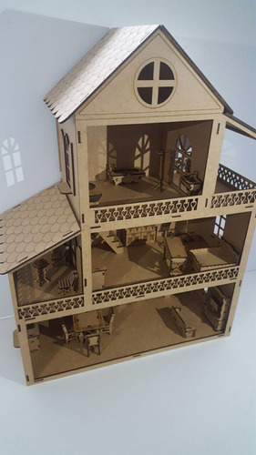 casa mdf boneca polly, grátis 25 móveis - promoção