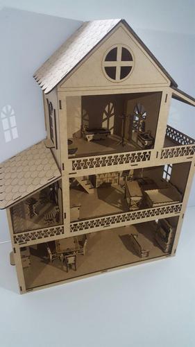casa mdf boneca polly, grátis 25 móveis - pronta entrega