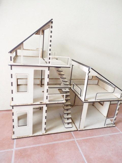 Casa minimalista moderna para mu ecas hecha en madera mdf - Casas de madera minimalistas ...