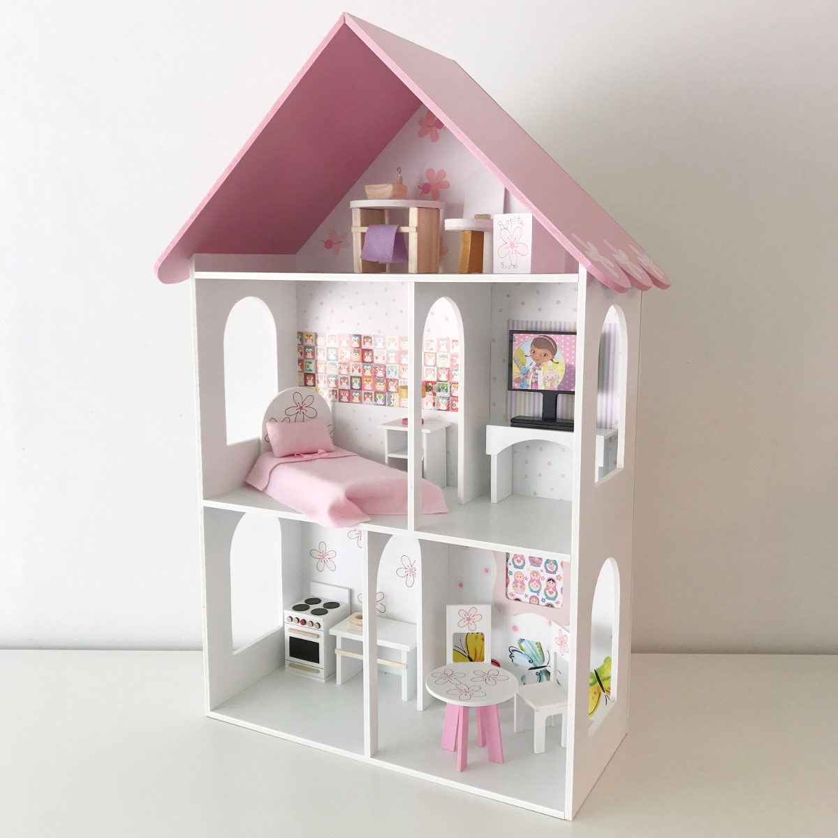 Casa Mu Ecas Barbie Completa Casita Madera Pintada Muebles  # Muebles Waldorf