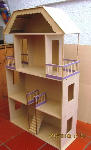 Casa mu ecas barbies juguetes madera decoracion tres pisos - Casa de materiales ...
