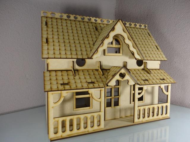 Casa con veranda casa de mu ecas hecha en madera mdf en mercado libre - Casa de munecas you and me ...