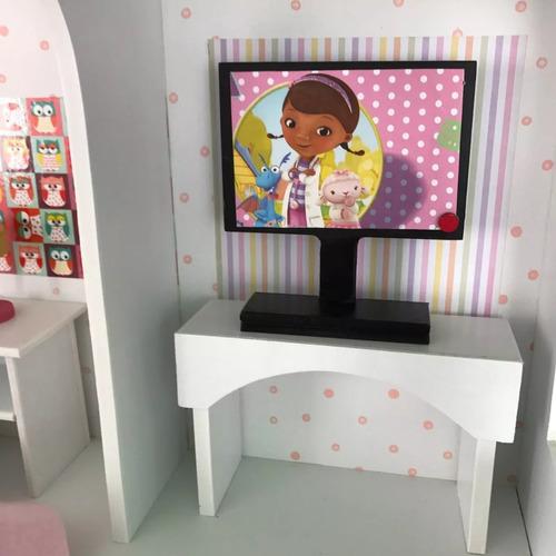 casa muñecas pintada 1m x70x33 fibrofacil 9mm + muebles baum