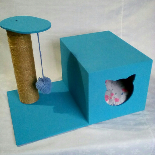 casa para gato cama rascador gimnasio juguete + cojin