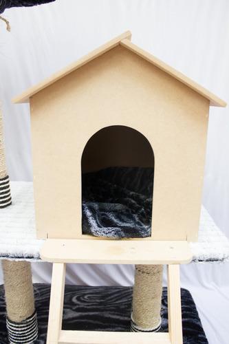 casa para gatos y trepador con rascador