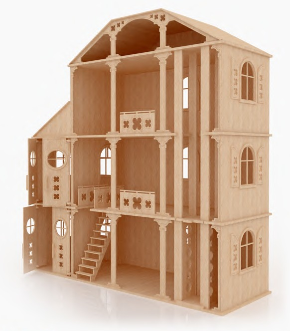 Casa fantasia para mu ecas barbie monster high en madera for Jardin la casa de munecos