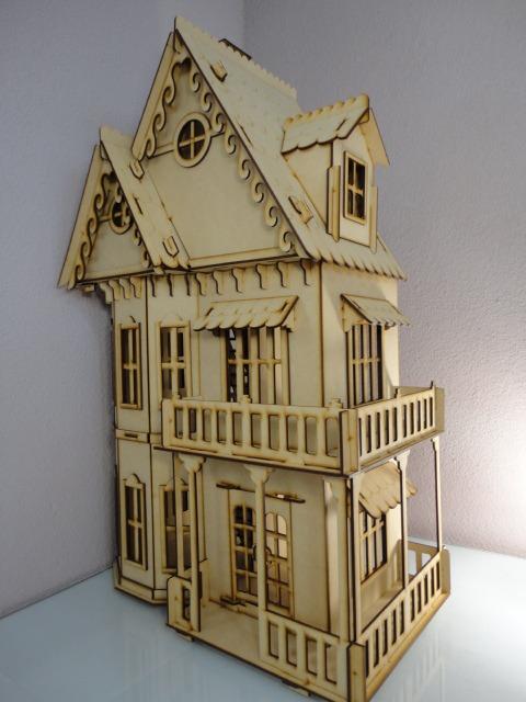 Casa gotica para mu ecas hecha en madera mdf rompecabezas - Casa de munecas teatro ...