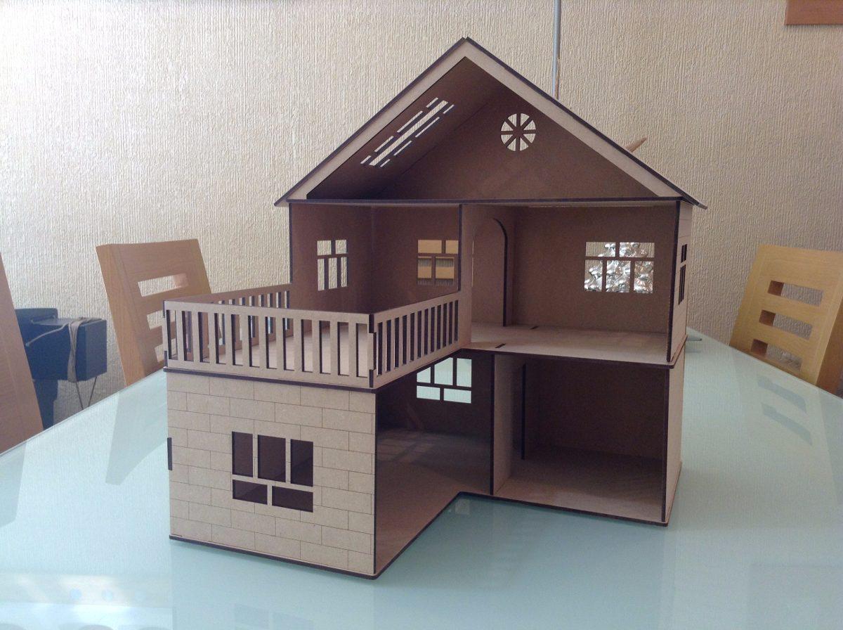 Casa para mu ecas l en madera mdf corte laser economica en mercado libre - Casa madera economica ...