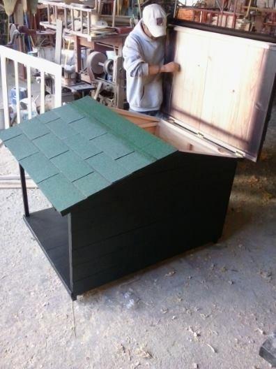 Casa Para Perro Con Terraza Lateral No 6 Techo Sencillo