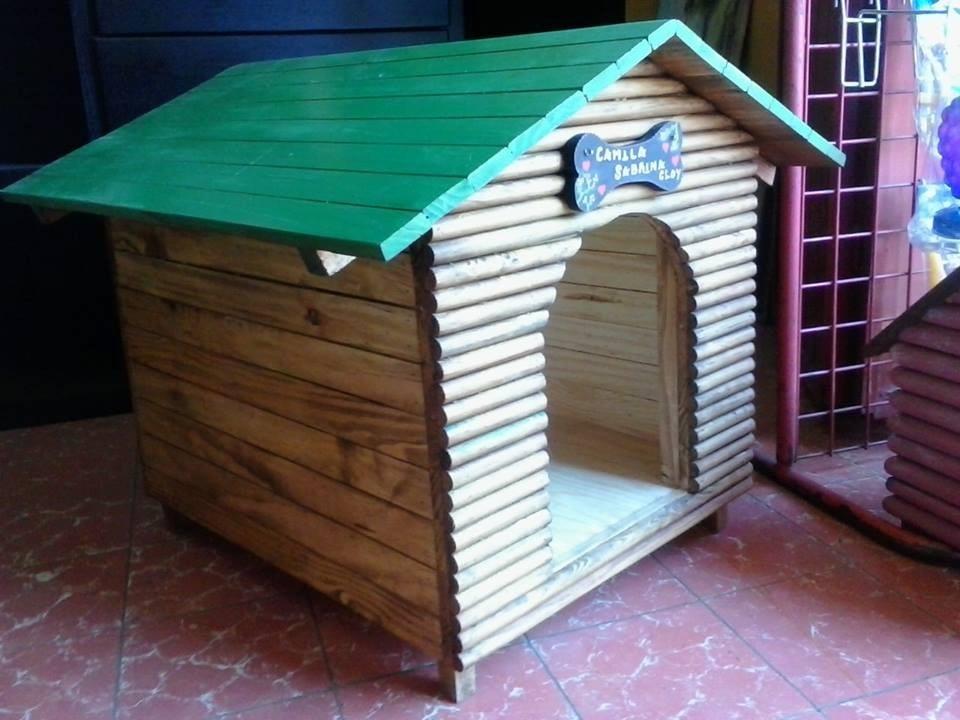 Casa para perro de madera no 2 frente de troncos - Madera para casa ...