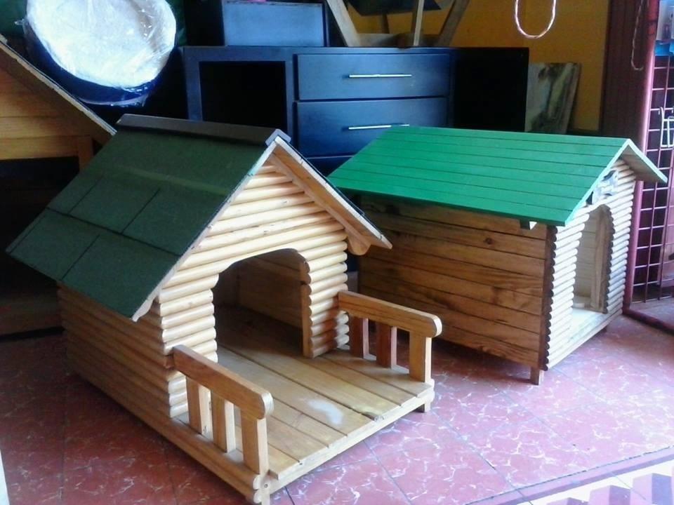 Casa para perro de madera no 2 frente de troncos - Como hacer una casa para perro grande ...