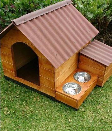 Casa para perros caj n y comedero en mercado - Que vale construir una casa ...