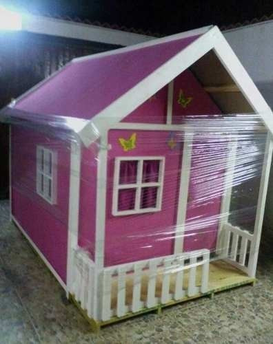 Casa peque a de ni a en madera ideal para jardines bs for Casas infantiles de madera para jardin