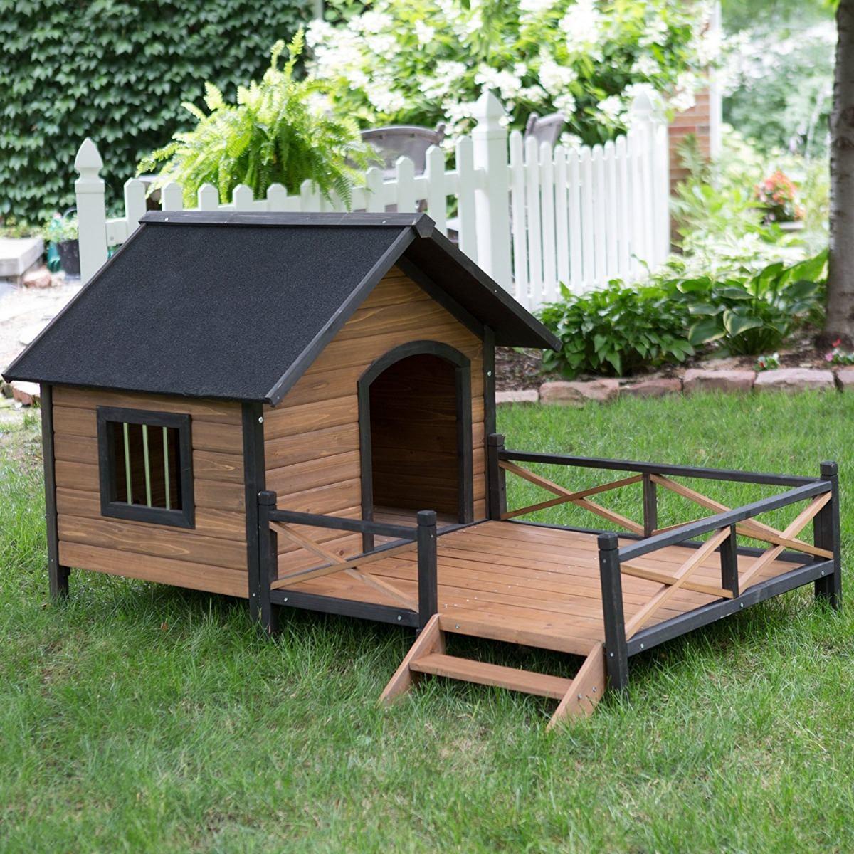 Casa perro grande con porche madera maciza de pino - Casas de madera de pino ...