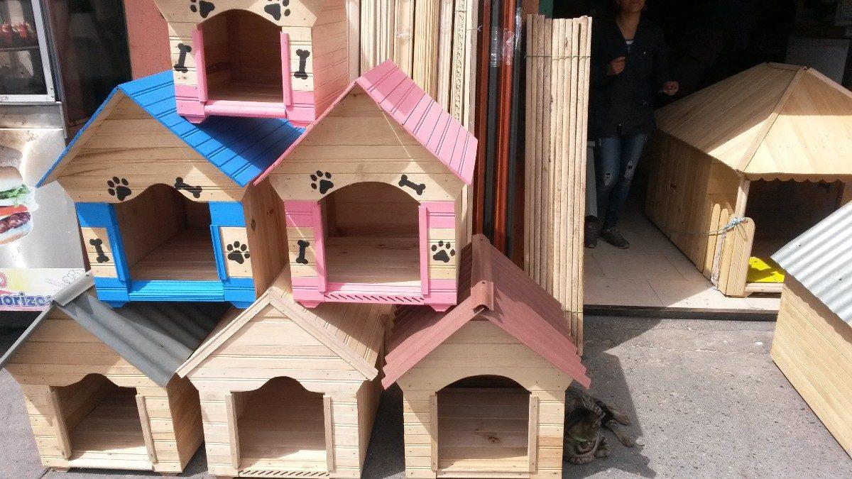 Casa Perros En Madera Mediana 55x55x67 Teja Plastica Madera ...