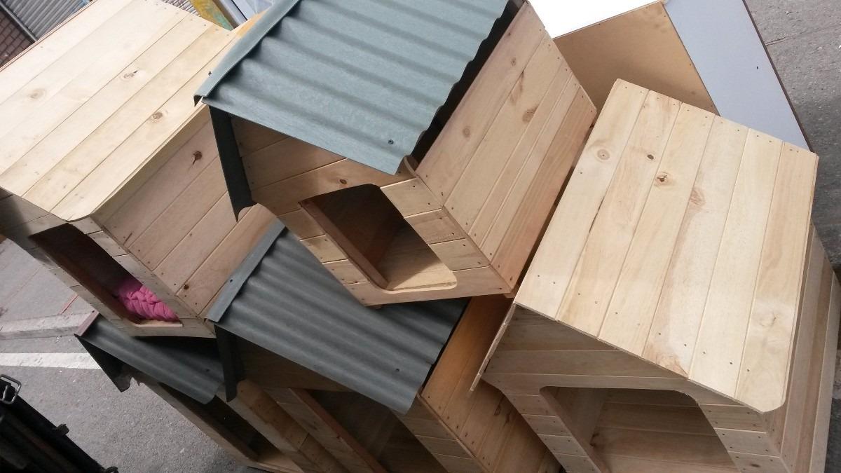 Casa perros en madera peque a 40x40x50 teja plastica - Casa pequena de madera ...