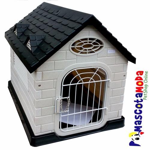 Casa pl stica perros medianos y peque os con puerta u s for Puertas perros medianos