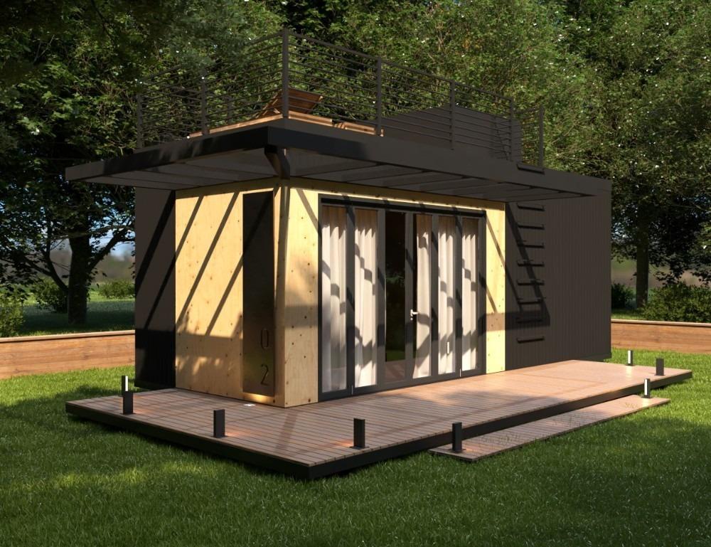 casa pré-fabricada de madeira dupla - projeto arrojado
