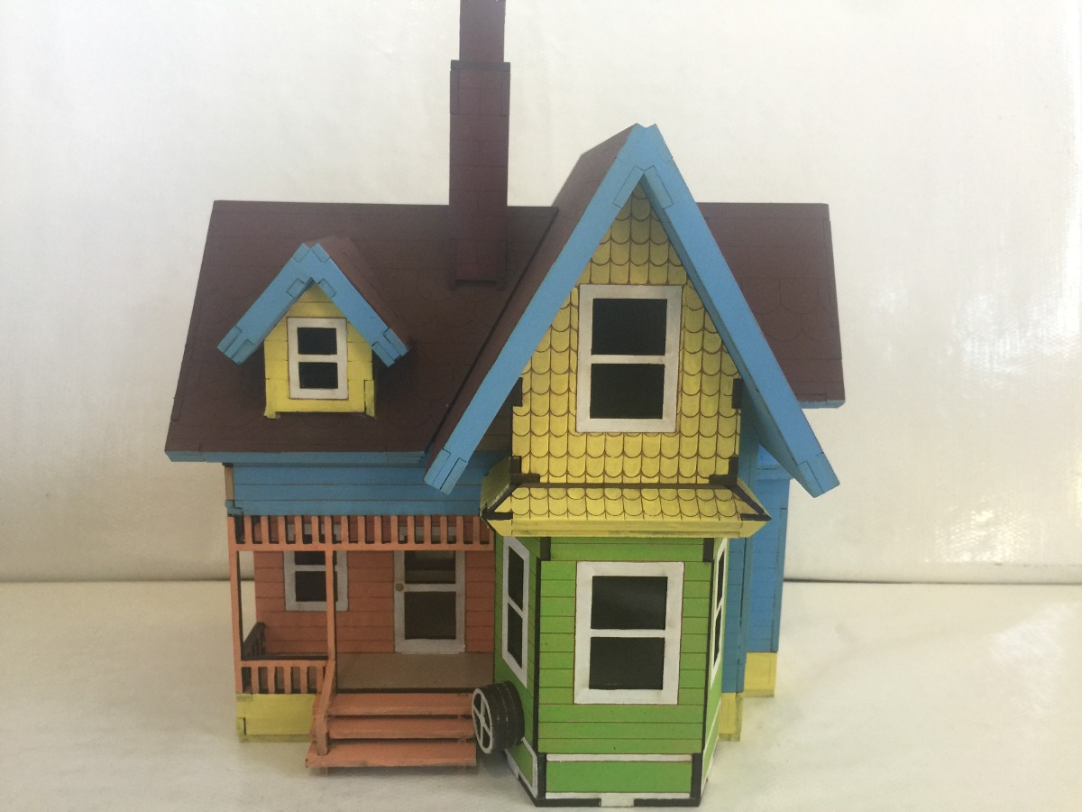 Casa up carl fredricksen mdf 3mm replica de la pel cula for Casas de juguete para jardin