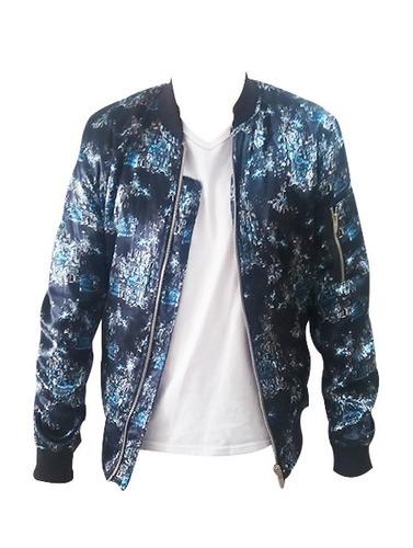 casaca bomber jacket zara color azul talla m para hombre