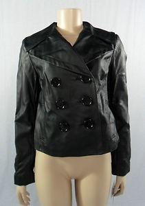 casaca cuero inc corta negro moderna con cuello m stock