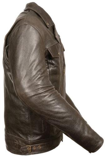 casaca d/cuero milwaukee homb bolsillo útil retro marrón 2xl