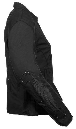 casaca de cuero milwaukee mujer c/detalles de alas black sm