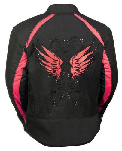casaca de cuero milwaukee mujer c/detalles de alas rojo lg