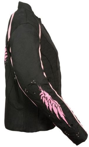casaca de cuero milwaukee mujer c/detalles de alas rosa 2xl