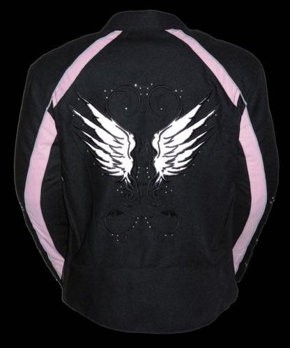 casaca de cuero milwaukee mujer c/detalles de alas rosa 5xl