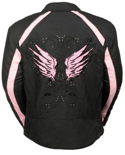 casaca de cuero milwaukee mujer c/detalles de alas rosa xl