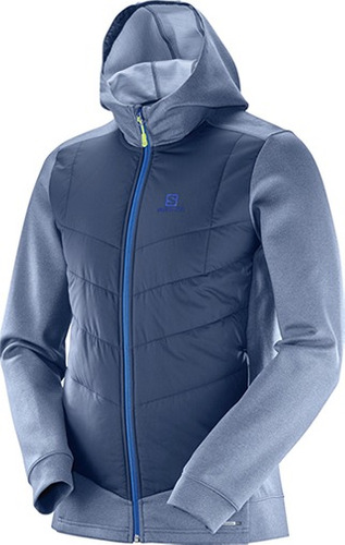 casaca masculina salomon - pulse hyb hood drbl m azul - runn