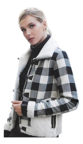 casaco biamar com gola tricot jeans xadrez bege com preto