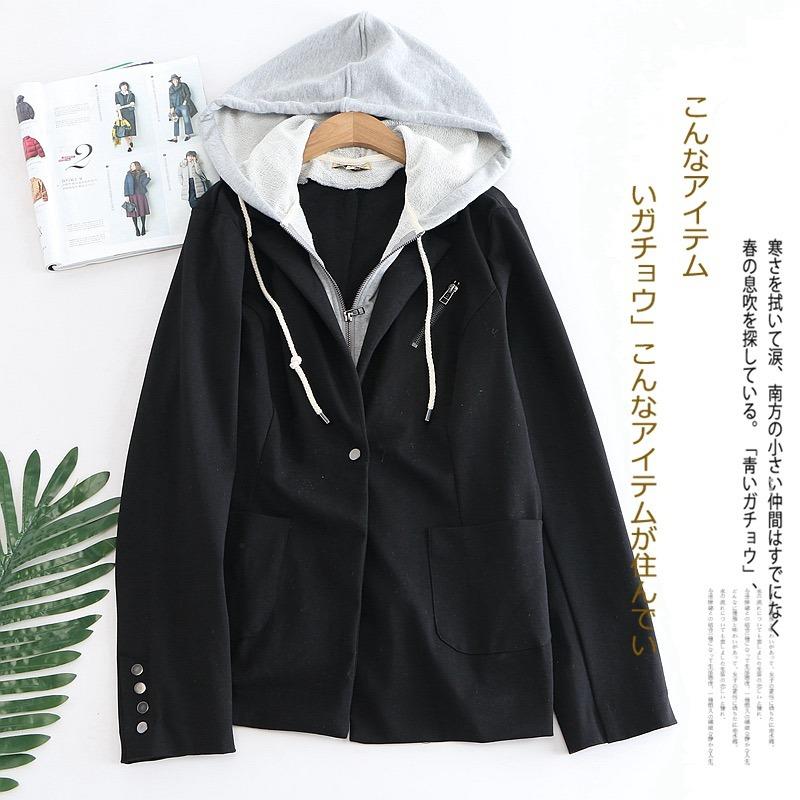 ff5e8ce56c casaco blazer feminino preto capuz moletom colegio importado. Carregando  zoom.