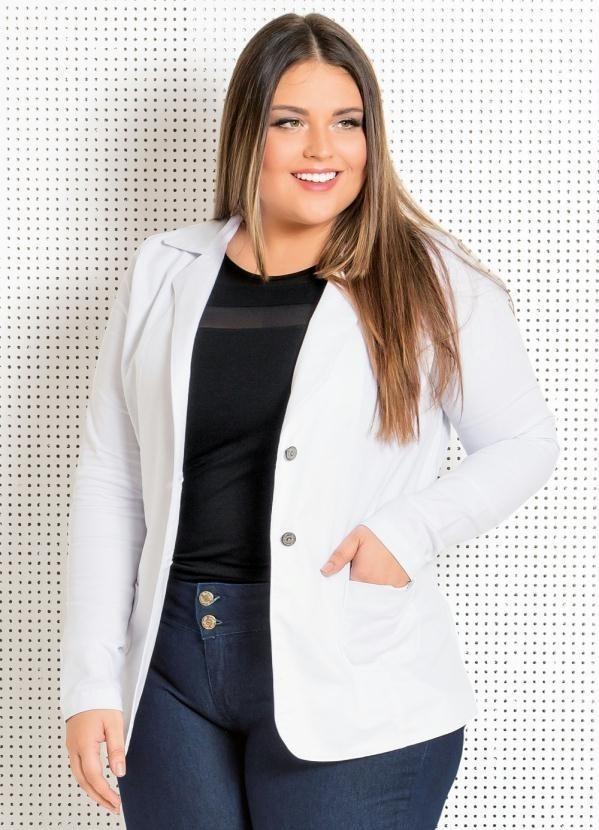 41e8440d27 casaco blazer plus size branco com botões roupas femininas. Carregando zoom.