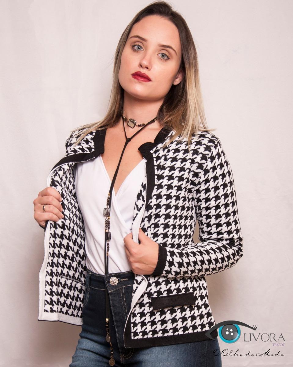 bajo precio 2ca66 11ab1 Casaco Blusa Chanel Tricot Crochê Casaquinho