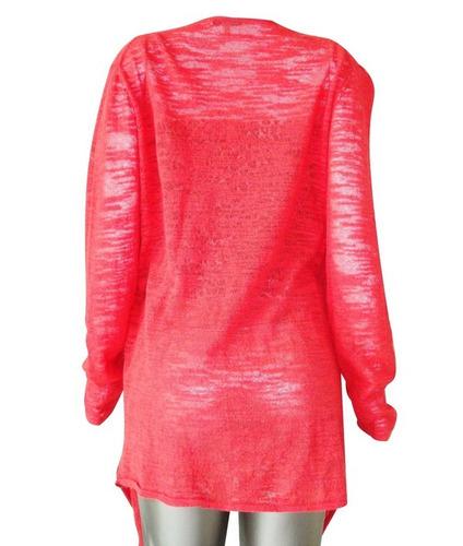 casaco cardigã dkny ( donna karan ) coral manga longa